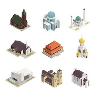 Jeu d'icônes isométriques de bâtiments du monde religions