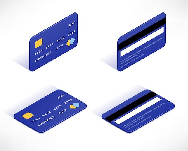 Jeu d'icônes isométriques de carte de crédit. cartes de vue de père et de dessus avec ombre isolé sur fond blanc. illustration de magasinage en ligne. peut être utilisé pour le web, les applications, les infographies