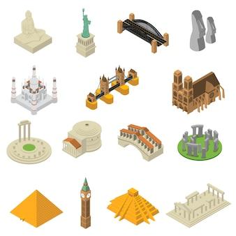 Jeu d'icônes isométriques de monuments célèbres dans le monde