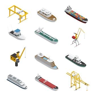 Jeu d'icônes isométriques de navire de mer et de rivière