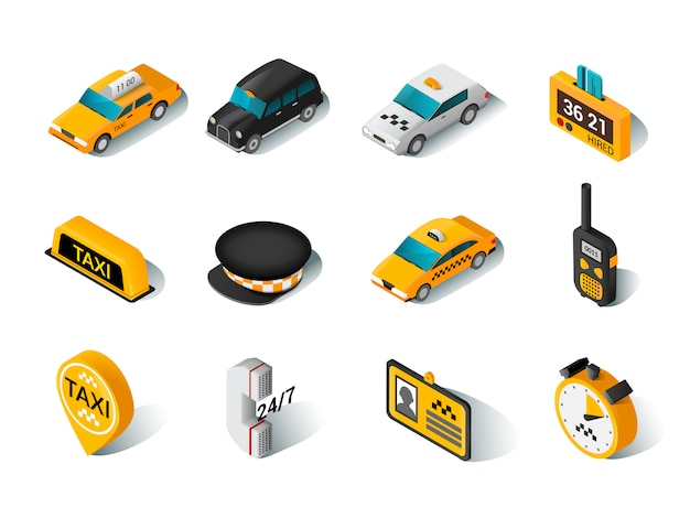 Jeu d'icônes isométriques de taxi