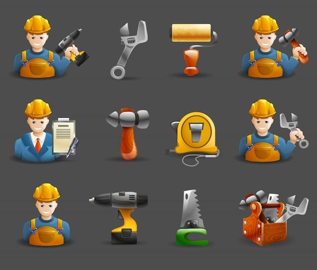 Jeu d'icônes isométriques de travail de remodelage de la construction