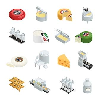 Jeu d'icônes isométriques d'usine de production laitière