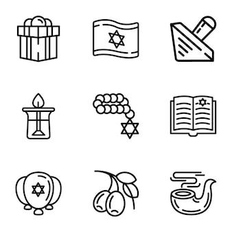 Jeu d'icônes d'israël, style de contour