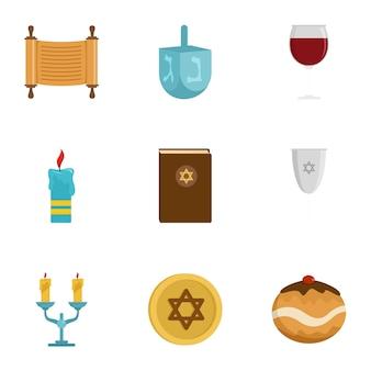Jeu d'icônes d'israël, style plat