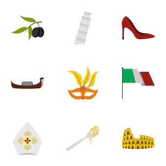 Jeu d'icônes de l'italie, style plat
