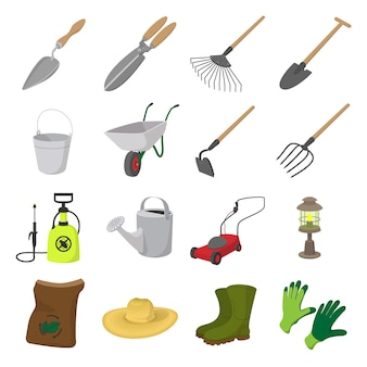 Jeu d'icônes de jardin de dessin animé. symboles de couleur avec herbe, imperméable à l'eau, arrosoir
