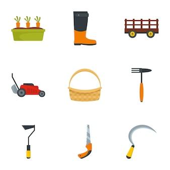 Jeu d'icônes de jardin. ensemble plat de 9 icônes de jardin