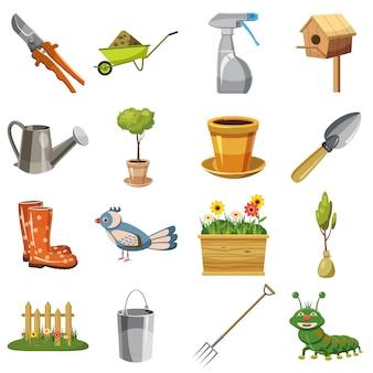 Jeu d'icônes de jardin, style cartoon