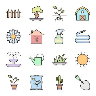 Jeu d'icônes de jardinage