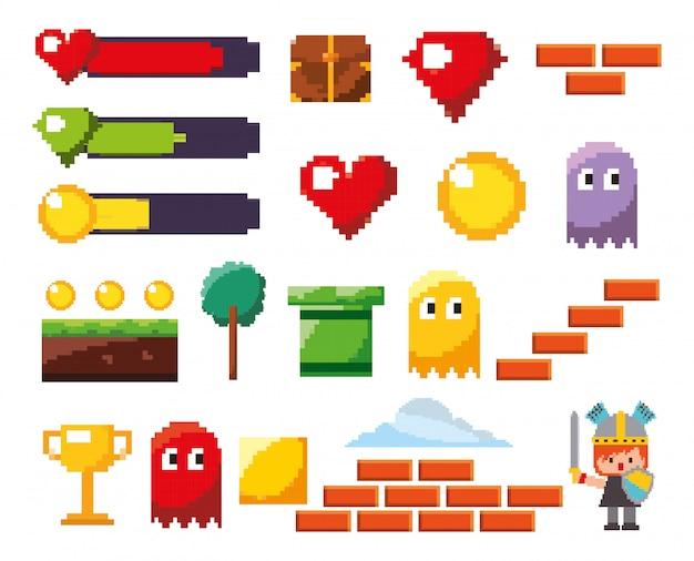 Jeu d'icônes de jeu vidéo isolé