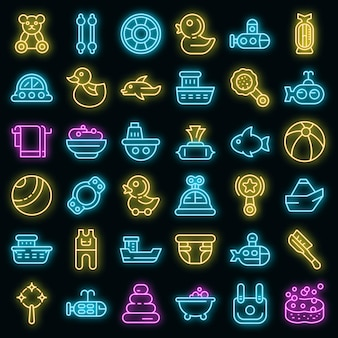 Jeu d'icônes de jouets de bain. ensemble de contour de jouets de bain icônes vectorielles couleur néon sur fond noir