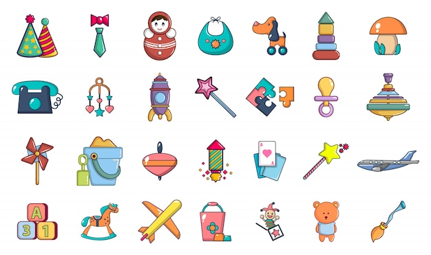 Jeu d'icônes de jouets. ensemble de dessin animé de jouets vectoriels icônes ensemble isolé