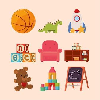 Jeu d'icônes de jouets pour enfants