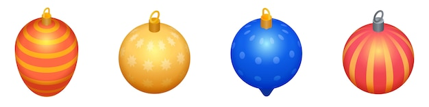 Jeu d'icônes de jouets de sapin de noël, style isométrique