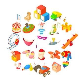 Jeu d'icônes de jouets, style cartoon