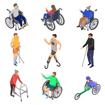 Jeu d'icônes jour personnes handicapées