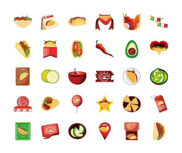 Jeu d'icônes de jour de taco