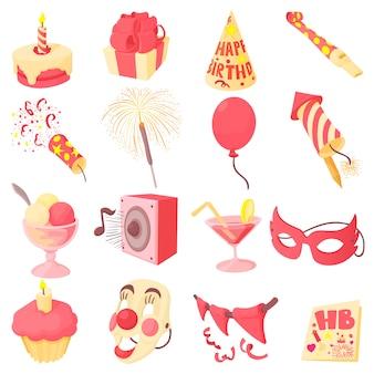 Jeu d'icônes de joyeux anniversaire
