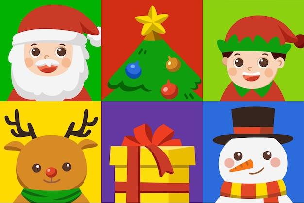Jeu d'icônes de joyeux noël. jeu de caractères de noël [cerf, père noël, elfe, arbre, cadeau et bonhomme de neige]