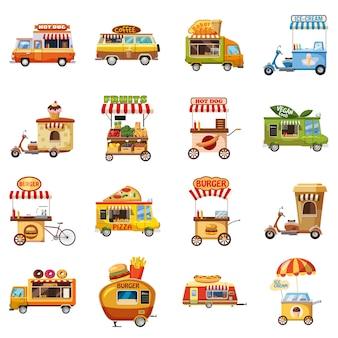 Jeu d'icônes de kiosque alimentaire de rue, style cartoon
