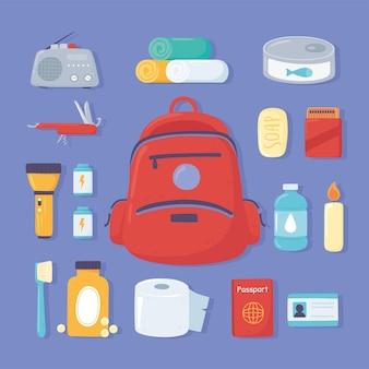 Jeu d'icônes de kit d'urgence