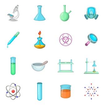 Jeu d'icônes de laboratoire chimique