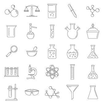 Jeu d'icônes de laboratoire scientifique