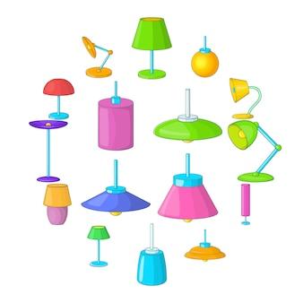 Jeu d'icônes de lampe, style cartoon