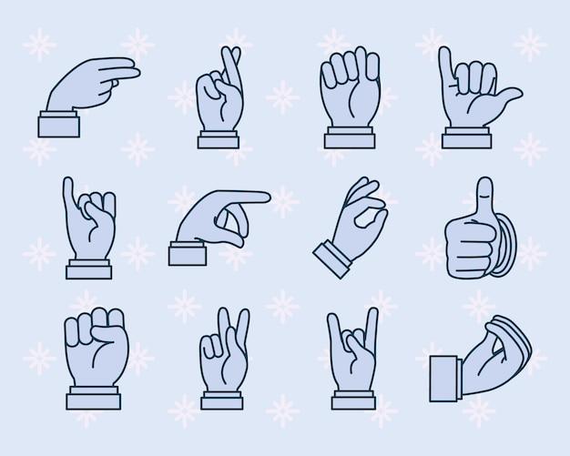 Jeu d'icônes de langage des signes et expressions mains.