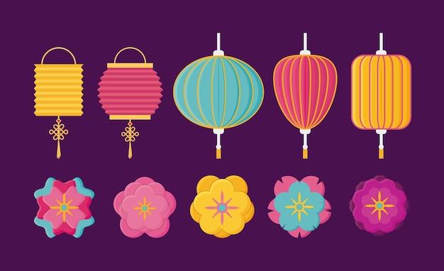 Jeu d'icônes de lanternes chinoises et de fleurs