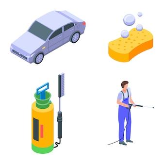 Jeu d'icônes de lavage de voiture, style isométrique