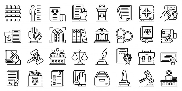 Jeu d'icônes de législation, style de contour