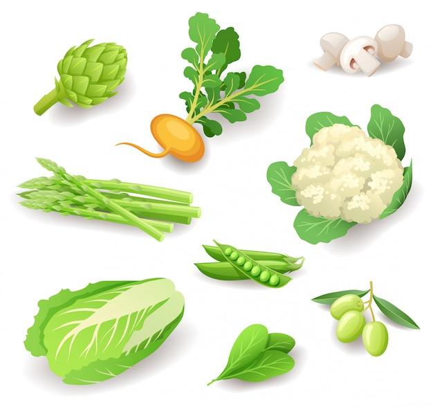 Jeu d'icônes de légumes biologiques frais, aliments sains, artichaut, navet, champignons, asperges, chou-fleur, pois, olives, chou chinois, épinards, illustration.
