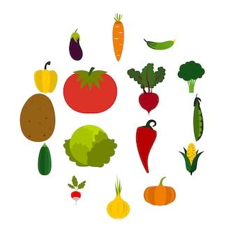 Jeu d'icônes de légumes, style plat