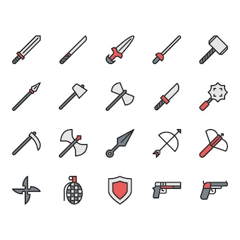 Jeu d'icônes liées aux armes