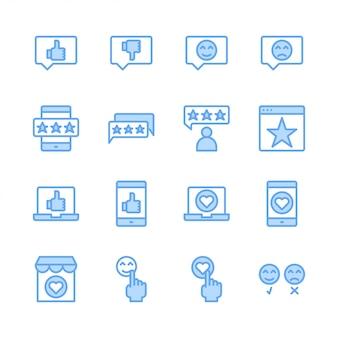 Jeu d'icônes liées aux commentaires et commentaires des clients