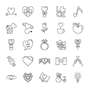 Jeu d'icônes de ligne amour et valentin