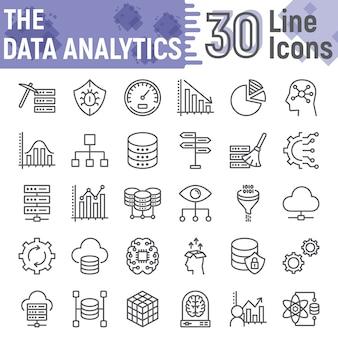 Jeu d'icônes de ligne d'analyse de données, collection de symboles de base de données