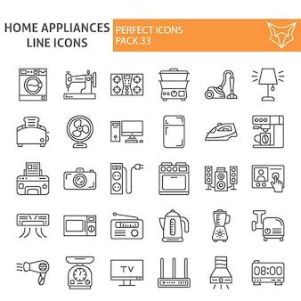 Jeu d'icônes de ligne d'appareils ménagers, collection domestique