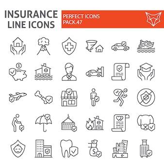 Jeu d'icônes de ligne d'assurance