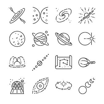 Jeu d'icônes de ligne d'astronomie.