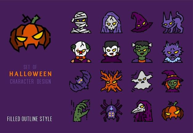 Jeu d'icônes de ligne colorée de caractère halloween pour la décoration. pictogramme détaillé de contour rempli.