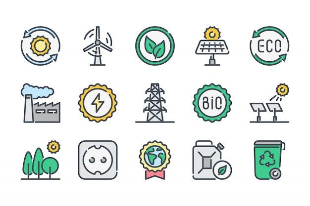 Jeu d'icônes de ligne de couleur liée à l'écologie.