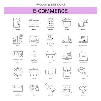 Jeu d'icônes de ligne e-commerce - 25 styles de contour en pointillés