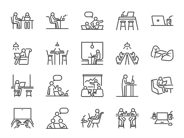 Jeu d'icônes de ligne espace co-working.