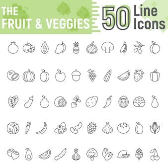 Jeu d'icônes de ligne de fruits et légumes, collection végétarienne