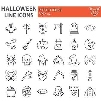 Jeu d'icônes de ligne halloween