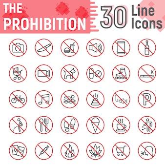 Jeu d'icônes de ligne d'interdiction, collection de signes interdits