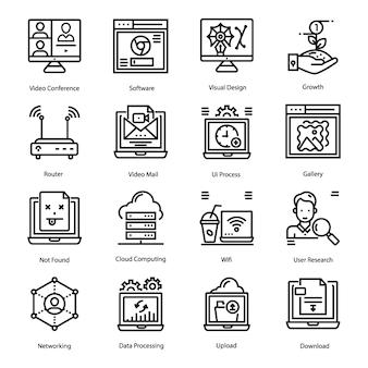 Jeu d'icônes de ligne d'interface utilisateur